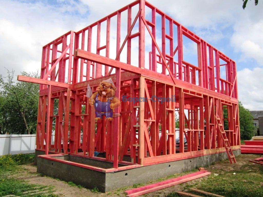 каркасный дом стройка